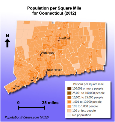 Population density map for Connecticut.
